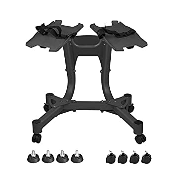 BIZBON Dumbbell Stand 330LBS Adjustable Dumbbell Rack Metal Dumbbell Holder Storage Stand Fixed Seat Belt Weight Rack Standard Metal Dumbbell Holder Weight Rack with Wheels for Home Gym Only Stand