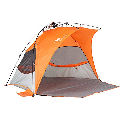 Mobihome Beach Tent Sun Shelter Pop Up, Sand & Surf Beach Shade Tents Umbrella & Portable Canopy Easy Setup for 2-3 Person Outdoor Camping Fishing - with Extended Porch