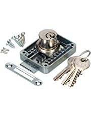 KOTARBAU® Meubelslot regelbaar 15 – 40 mm links en rechts opschroefslot met 3 sleutels cilindermeubelslot kastslot slot ladeslot.
