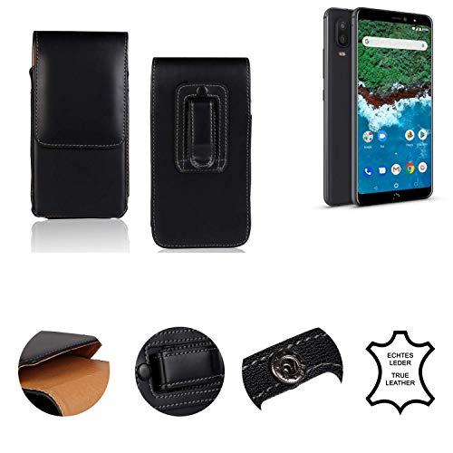 K-S-Trade® Holster Gürtel Tasche Für BQ Aquaris X2 Pro Handy Hülle Leder Schwarz, 1x