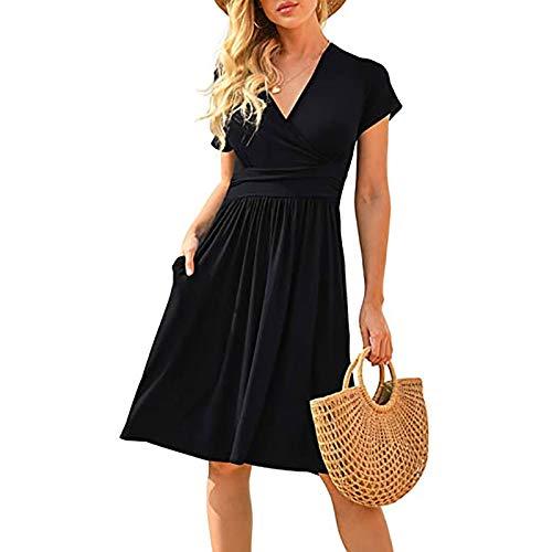 duanxiu Women's Summer Casual Short Sleeve V-Neck Short Party Dress with Pockets Womens Fall Dresses 2021 Black