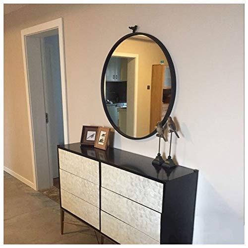WZ Espejo de Pared Decorativo Vintage, Metal Enmarcado Espejo Redondo de Baño Diámetro 40cm 50cm 60cm 70cm 80cm - Negro Y Dorado (Color : Black, Size : 60cm)