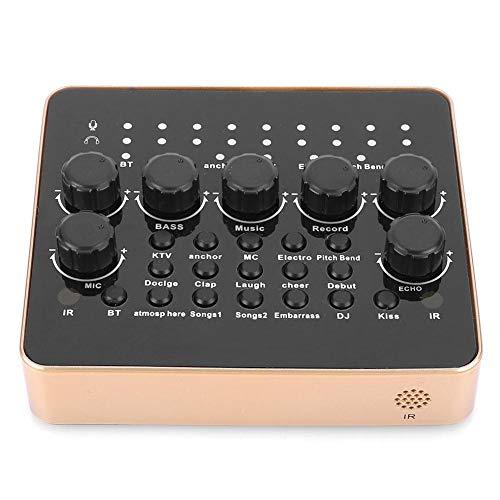 Hopcd Computer PC Soundkarte & Sprachwechsler, Externe USB-Audio-Mixing-Soundkarte, Audio-Karaoke-DJ-Mixer für Telefon-Computer-Tablets Chating-Musikaufzeichnung/Live Funny Sound Effets