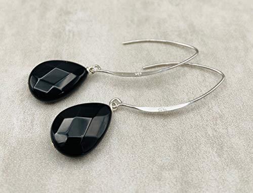 Pendientes de Plata 925 y Onix Negro, Pendientes Colgantes Largos, Piedra de Agosto, Joyas artesanales, Regalo para Mujer