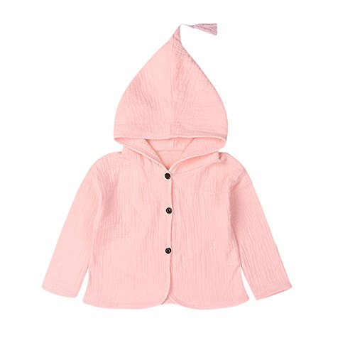 AMUSTER AMUSTER Kleinkind Kinder Unisex Baby Junge Mädchen Mantel Mit Kapuze Hooded Sweatshirt Strickjacke Pullover Outwear Trenchcoat (120, Rosa)