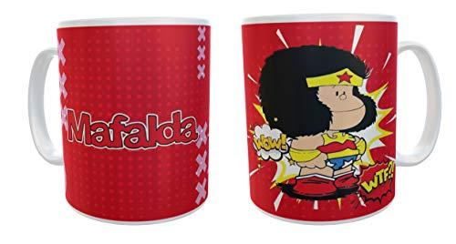 Les événements de Tata. Mug de petit-déjeuner Mafalda rouge. Mafalda Superheroina