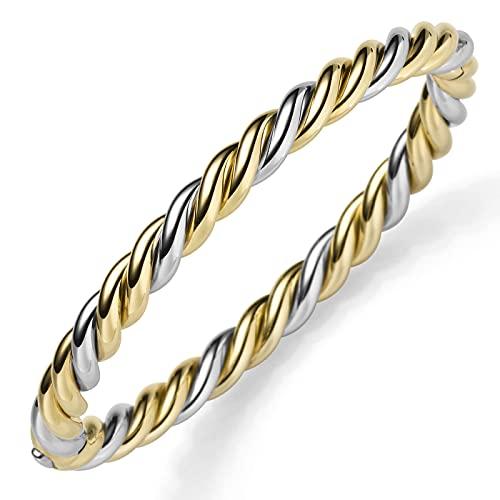 Kordel Armreif Armband Armschmuck 585 Gold belb/weiß bicolor 6mm breit, glänzend