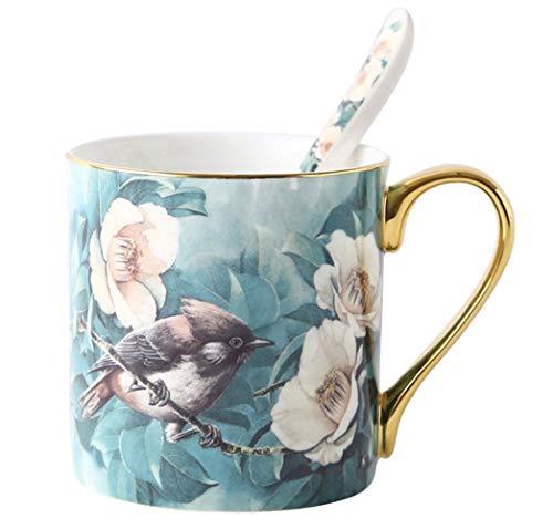 380Ml Europees Keramisch Been China Koffie Cup Lepel Handgeschilderd Bloem Master Cup Sap Water Ontbijt Drink