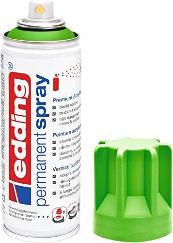 edding 5200 Permanent Spray - gelbgrün matt - 200 ml - Acryllack zum Lackieren und Dekorieren von Glas, Metall, Holz, Keramik, Kunststoff, Leinwand - Lackspray, Acrylspray, Farbspray