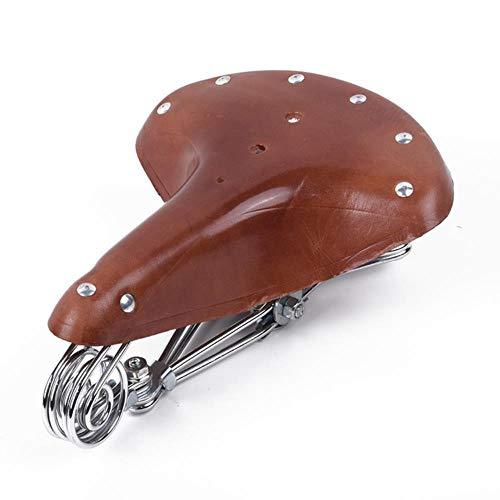 ljpxbb Asiento De Cuero Retro Vintage para Bicicleta, Sillín De Cuero De Vaca, Asiento Cómodo De Resorte con Llave De Instalación Rápida, Marrón