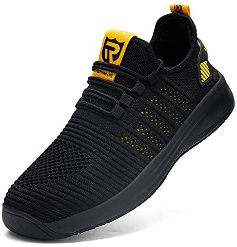 LARNMERN Zapatillas de Running para Hombre Antideslizante Impermeable Zapatos para Correr y Asfalto Aire Libre y Deportes Calzado(Amarillo 41)