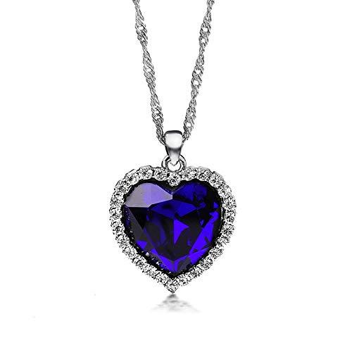 Collar De Mujer, Cristal Azul Titanic Ocean Heart Collares Pendientes para Mujer Rhinestone Noble Plateado De Metal Gargantilla Collar Joyería