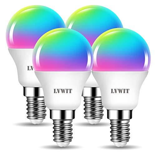 LVWIT E14 Wlan LED Lampe RGB, 5W ersetzt 40W, 470lm, WiFi Smart Birne G45, kompatibel mit Alexa, Echo and Google Assistant, dimmbar via Tuya App (4er Pack)