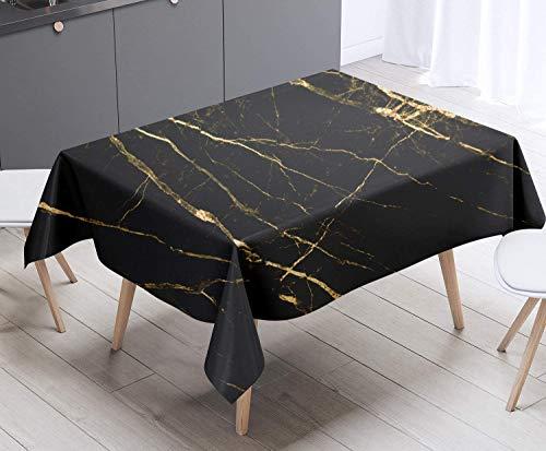 XXDD Mantel de mármol de Oro Negro Cubierta de Mesa Picnic Impermeable y Lavable, Utilizado para Mantel de Interior o Exterior A1 150x210cm