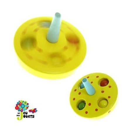 Legler Toupie Billes Jouet en Bois Diamètre 5 cm pour Enfant 3 Ans + - Jaune