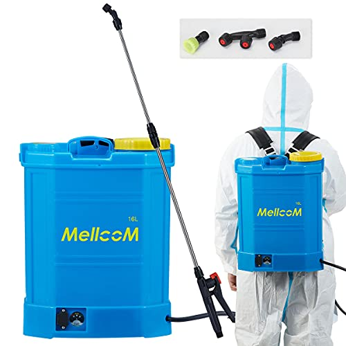 MELLCOM 4 Gallon Battery Powered Backpack Sprayer, Hoses Included, Wide Mouth Lid, 3 Different nozzles, for Office, Hotel, School, Lawns, and Gardens