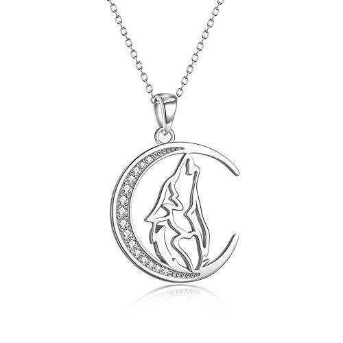YFN Collar con colgante de lobo de plata de ley 925, collar de luna creciente, 45,72 cm, joyería...
