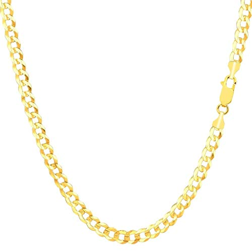 14K Gold 2.5MM, 4MM, 5MM, 6.5MM, 7.5MM, 9MM Cuban/Curb Chain Necklace and Bracelet - Made In Italy - Yellow, White, Rose, Two Tone (22, 4MM, Yellow)