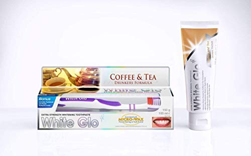 White Glo Premium Coffee & Tea Drinkers Formula Intense Extra Whitening Toothpaste & Toothbrush-100 ml ((with Sanitral 50 Pcs Dental Floss Stick Included as a Gift)