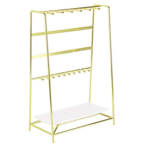Simmer Stone Jewelry Stand, 4 Tier Jewelry Organizer Holder, Decorative Jewelry Storage Hanger Display with Tray for Rings Bracelets Necklaces Earrings, Gold