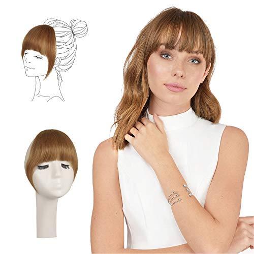 FESHFEN Capelli Clip Frangia, Capelli 100% naturali Remy Hair Frangia Clip Capelli Veri Frangetta Fascia Unica Marrone Extension
