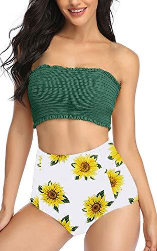 Summer Mae Damen Volant Bedruckt High Waist Bikini Set Hohe Taille Bademode Badeanzug Armee GrünS