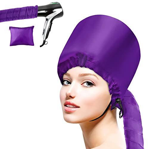 Cestmall Gorra de Secado de Pelo ortátil, Accesorio del Secador De Pelo De Bonnet Capucha Haircare Salon Secador de pelo Sombrero Accesorios para Mujeres Chicas (purple)