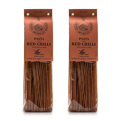 Morelli - Linguine Pasta with Red Chili, Made in Italy - 8.8oz (250g) - pack of 2