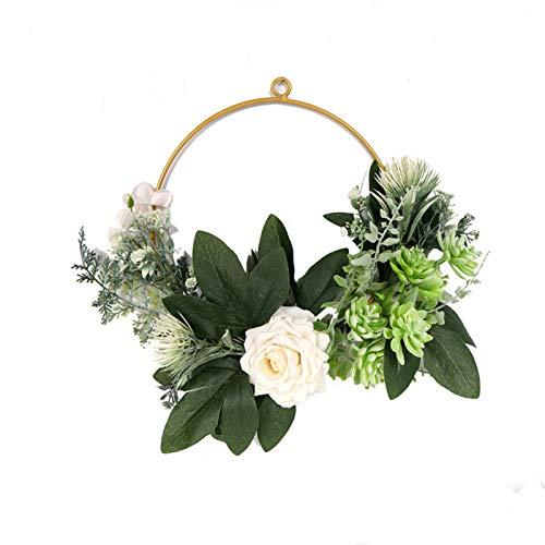Deko Kranz mit Metall Ringe Hoop, 30cm Circle Design Wandkranz Eukalyptuskranz Kranz für Outdoor Hochzeiten Zuhause (Grün)