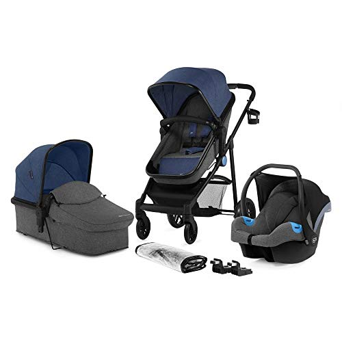 Kinderkraft Pram 3 in 1 Set JULI, Travel System, Baby Pushchair, Buggy, Foldable, with Infant Car Seat, Carrycot, Accessories, Rain Cover, Footmuff, Cup Holder, from Birth to 3 Years, Denim
