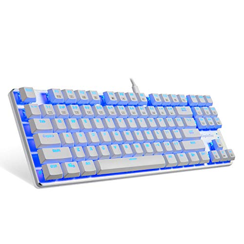 EagleTec KG061-BR Blue LED Backlit Mechanical Gaming Keyboard Low Profile Mechanical Gamers Keyboard 87 Key Mechanical Computer USB Gaming Keyboard for PC Quiet Cherry Brown Switches (White Version)