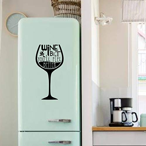 myrockshirt Wine Glass with Saying A Bit Wine and You Feel Better Approx. 30 x 60 cm Fridge Sticker Funny Professional Quality without Background Decoration