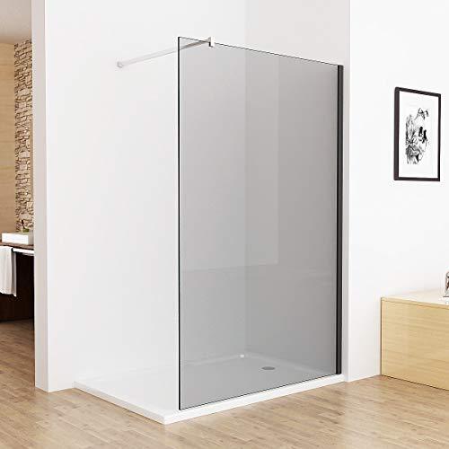 Walk in Dusche Duschwand 120 x 195 cm Duschtrennwand Duschabtrennung 8mm ESG Graues Glas