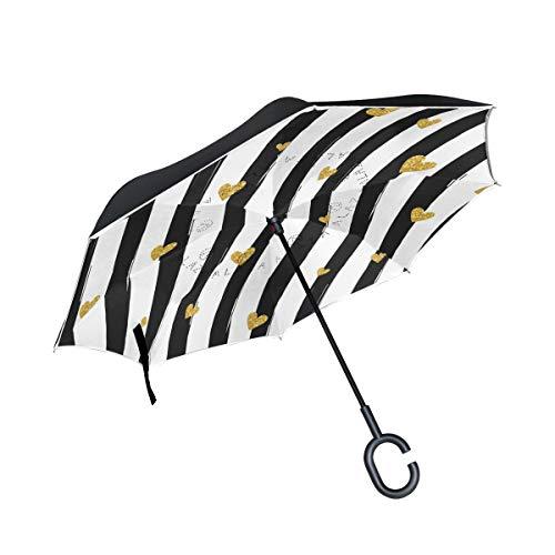 Paraplu, dubbel, goudkleurig, gestreept, met handvat in C-vorm