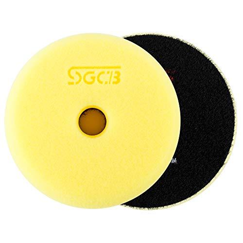 "SGCB 3"" RO/DA Buffing Pad Foam Polishing Sponge Pad, Medium Heavy Cutting Flat Buffing Pad Fine Smooth Hook & Loop Finishing Grinding Foam Disc Pad for Scratch Swirl Defect Removing, 1-Yellow"