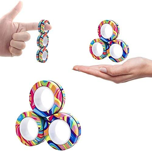 Bo Po 3PCS Magnetic Finger Rings Fidget Toys Stress Anxiety Decompression Magical Ring Props product image