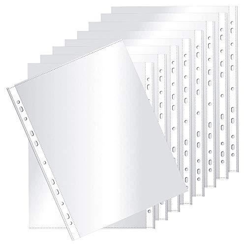 Fundas Ttransparentes CHEPL 100 unidades Fundas en Plástico Transparente A4 Funda de Plástico con Agujeros para Archivadores y Carpetas, Transparente