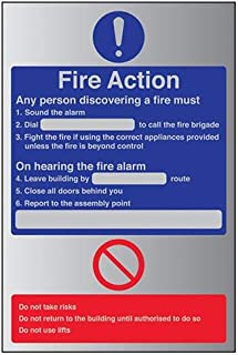 VSafety General Fire Action Dial Sign - 150mm x 200mm - 3mm Brushed Alu Comp