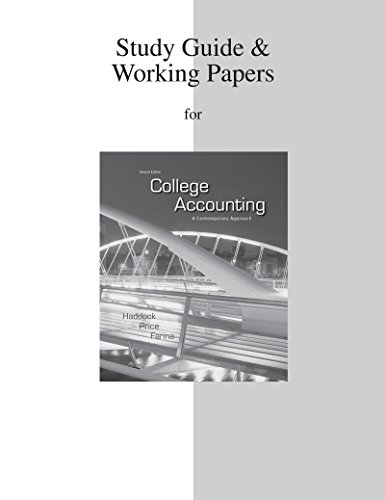 Study Guide/ Working Papers for College Accounting