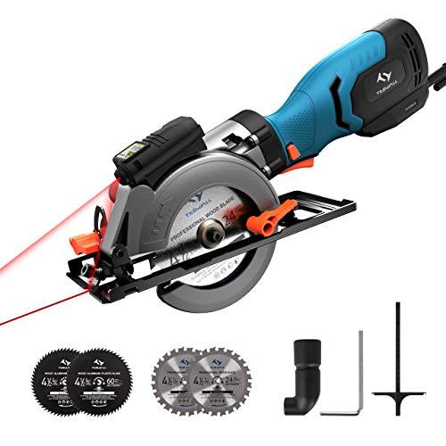 Circular Saw 6.2A 3500RPM,Tilswall Mini Circular Saw with Metal Handle, Cutting Depth 46mm(90°) 35mm(45°), Laser Guide