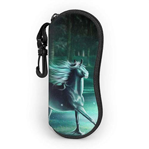 AOOEDM Estuche blando para gafas de sol de caballo, Estuche para lentes con cremallera y clip para cinturón