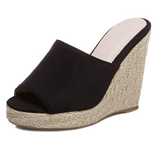 Mediffen Donna Peep Toe Moda Zeppa Plateau Mule Sandali Estate Casuale Mule Pantofole Pantofole Sandali Nero Numero 38 Asiatico