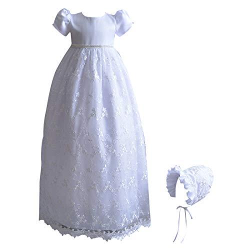 Zhhlinyuan Robe de Baptême pour Les Bébés Filles Dentelle Fête d'anniversaire Robes - Bébé Princesse Mariage Dress Manche Courte