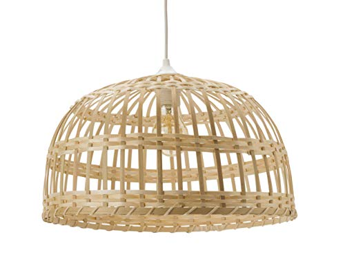 Luminaire Phuket, suspension bambou, 60 W, naturel, ø 40 x H 22 cm