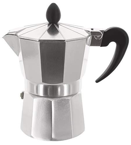 MIK Funshopping Klassischer Espressokocher aus Aluminium, metallic, für Vollmundigen Espresso, Cafe Maker (3 Tassen)
