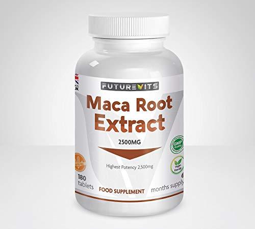 Maca Root Capsules 2500mg 180 Vegetarian and Vegan Tablets - 6 Month Supply Made in UK Futurevits