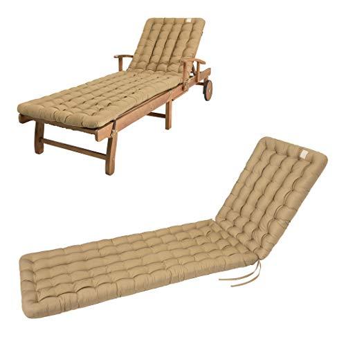 HAVE A SEAT Luxury - Liegenauflage, Auflage Gartenliege (Beige) 200 x 60 cm, 8 cm dick, waschbar bei 95°C, Trockner geeignet, Bequeme Polsterauflage für Sonnenliege, Liegestuhl, Relaxliege