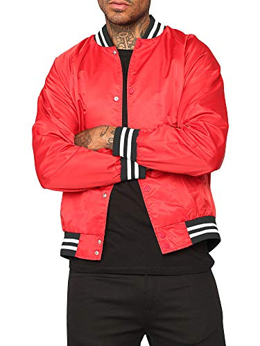 Mens Premium Varsity Jacket Letterman College Bomber Jackets Team Uniform (Medium, Red)