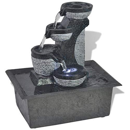 yorten Zimmerbrunnen mit LED-Licht 2W LED-Brunnen LED-Beleuchtung Wohnzimmerbrunnen aus Polyresin Tischdekoration 22,5 x 17 x 25,5 cm(L x B x H)