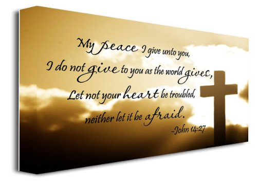 """Sticker Perfect Framed Canvas Print My Peace I give Unto You, I do not give to You as The World Gives, Let not Your Heart be Troubled, Neither let it be Afraid John 14:27 Religious (22""""x12"""")"""